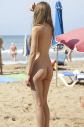 Young girl at nude beach