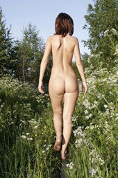Nude babe in the forest