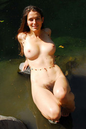 Hairy hottie in the river