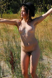 Hairy girl nude outside