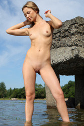 Nude girl outside in memories of you