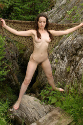 Hairy pussy young girl nude in the forest crossing a river