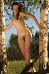 Exciting hairy slut brunette nude in the forest