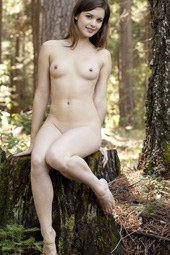 Hairy pussy busty blonde naturist getting shower in the forest
