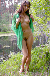 Exciting young birch forest naturist