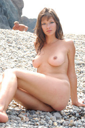 Young hairy pussy naturist at the rocks