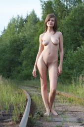 Busty brunette railway picnic