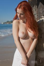 Busty redhead malibu beach girl