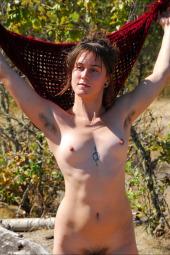 Hairy girl nude outside