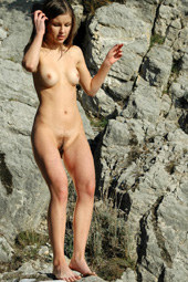 Hairy pussy chick public nudity in the mountains at sunny day