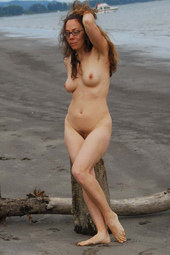 Hairy pussy girl in glasses beach play