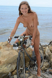 Hairy pussy sexy girl cycling nude after fishing