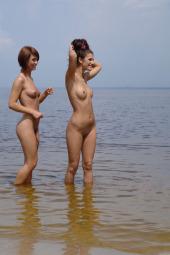 Hot young beach girlfriends