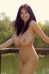 Huge boobs chick at the lake
