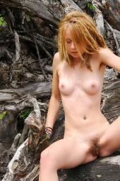 Nice hairy girl on the beach