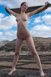 Nude freedom at the nature for busty redhead naturist