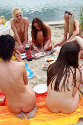 Nudist beach competitions and fun