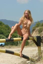 Nudist blonde road blocker