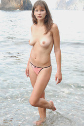 Sexy girl nude on the island